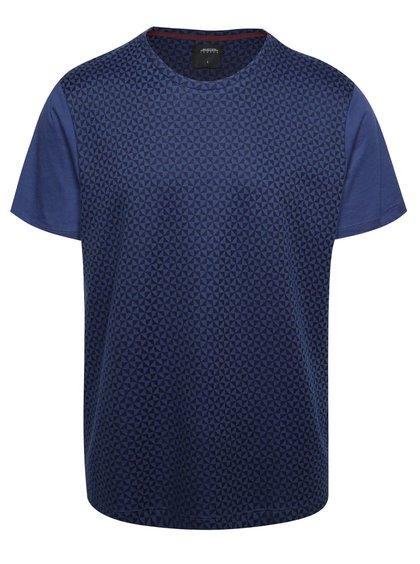 Tmavě modré triko s geometrickým vzorem Burton Menswear London