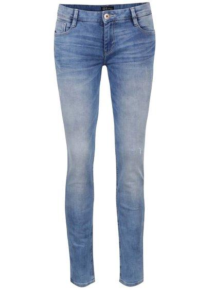 Světle modré dámské skinny džíny s vyšisovaným efektem Cars Gaby