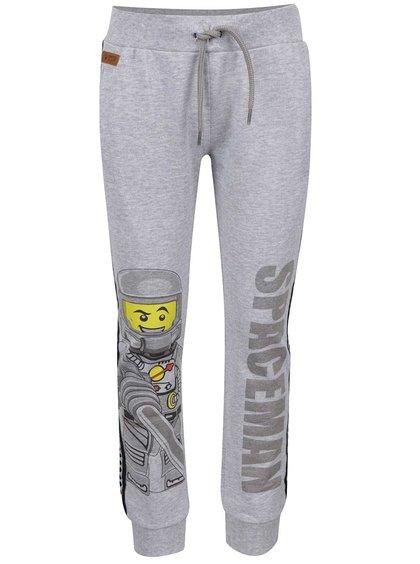 Pantaloni sport gri melanj LEGO Wear Pilou cu print pentru băieți