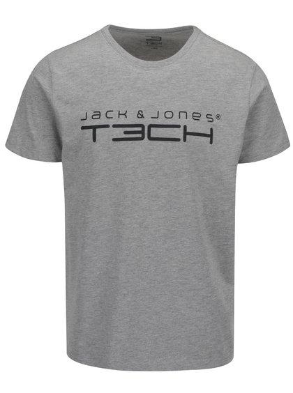 Tricou gri melanj cu imprimeu logo Jack & Jones Foam