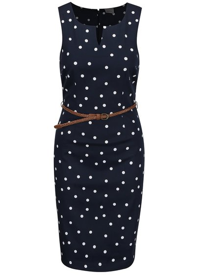 Rochie albastru închis cu model buline VERO MODA Pekaya