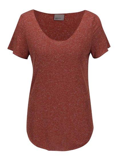 Cihlové tričko s prodlouženou délkou VERO MODA Lua