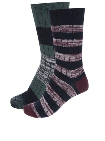Sada dvou pruhovaných ponožek ve vínové a zelené barvě Burton Menswear London