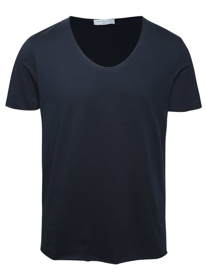 Tricou albastru închis Selected Homme Merce din bumbac