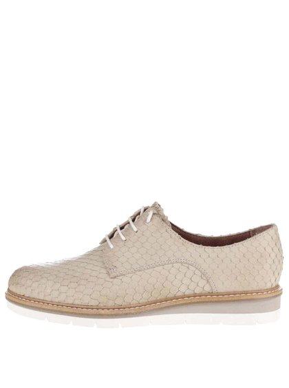 Pantofi bej Tamaris din piele cu model