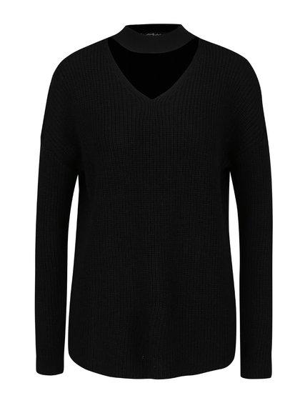 Černý svetr s průstřihem v dekoltu Miss Selfridge
