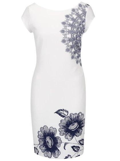 Krémové šaty s motivem květin a výstřihem na zádech Desigual Melisa