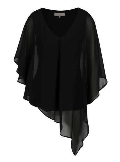 Černá asymetrická halenka s netopýřími rukávy Dorothy Perkins