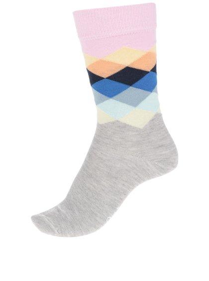 Šedé dámské ponožky s barevnými vzory  Happy Socks Faded Diamond