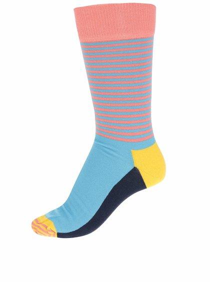 Růžovo-modré unisex pruhované ponožky Happy Socks Half Stripe