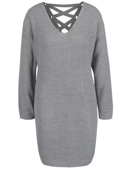 Rochie gri tricotată Miss Selfridge cu șiret la spate