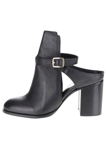 Černé kožené boty na podpatku Miss Selfridge