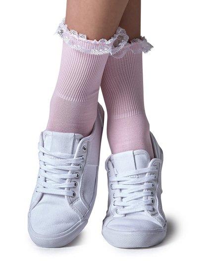 Světle růžové ponožky s krajkou Gipsy