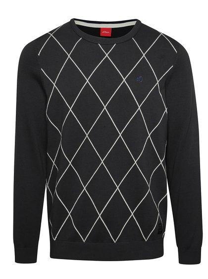 Černý pánský kostkovaný svetr s.Oliver