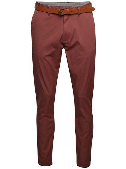 Vínové chino kalhoty s páskem Selected Homme Hyard