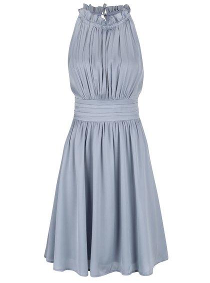Modrošedé lesklé šaty s plisovaným topem Little Mistress