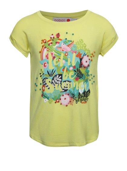 Žluté holčičí tričko s krátkým rukávem Bóboli