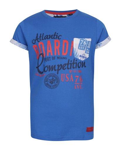 Modré triko s potiskem a náprsní kapsou Blue Seven