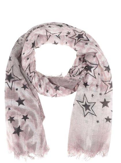 Eșarfă roz pal Haily´s Estefania cu imprimeu cu stele