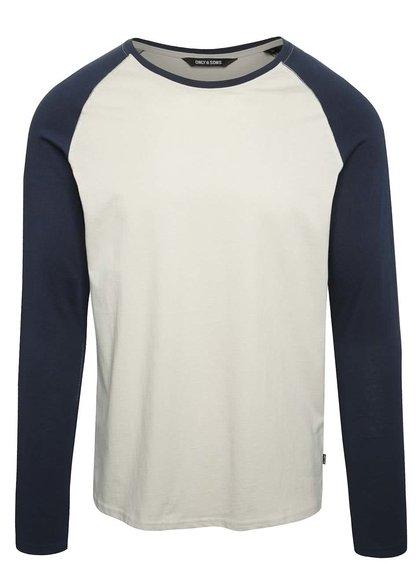 Modro-béžové triko s dlouhým rukávem ONLY & SONS Poyraz