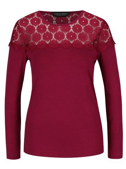 Růžové tričko s dlouhým rukávem a krajkou Dorothy Perkins
