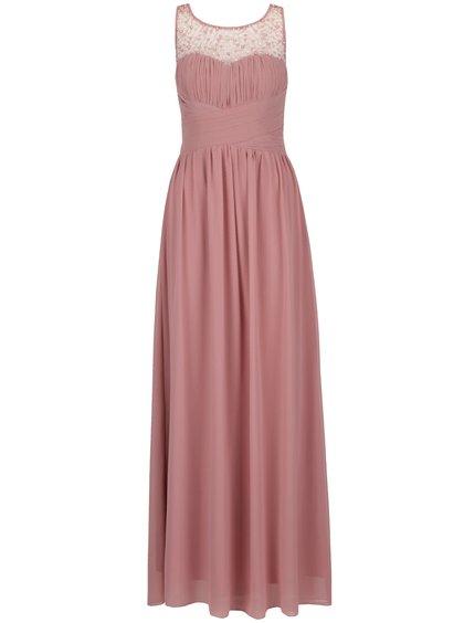Starorůžové dlouhé šaty s jemně plisovaným topem s korálky Little Mistress