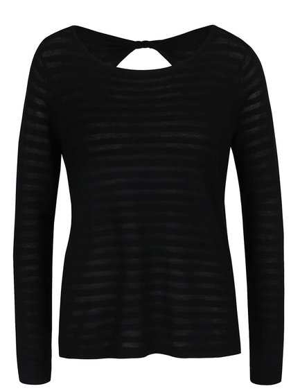 Černé průsvitné tričko s průstřihem na zádech ONLY Hannah