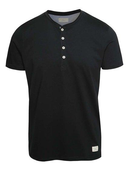 Tricou negru Selected Homme Niklas cu nasturi