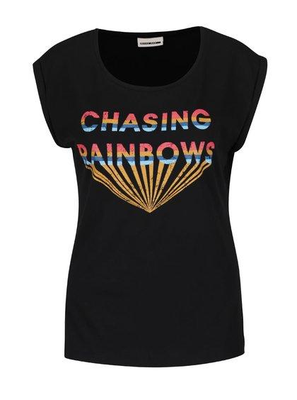 Černé tričko s barevným potiskem Noisy May Anders