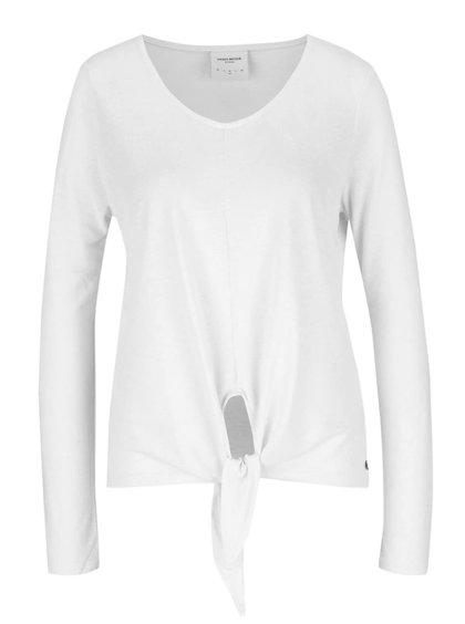 Krémové tričko s příměsí lnu VERO MODA Lua