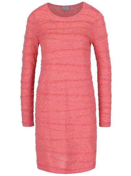 Růžové žíhané svetrové šaty VERO MODA Montana