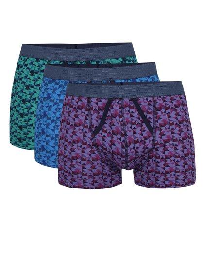 Sada tří boxerek v modré, fialové a zelené barvě Burton Menswear London