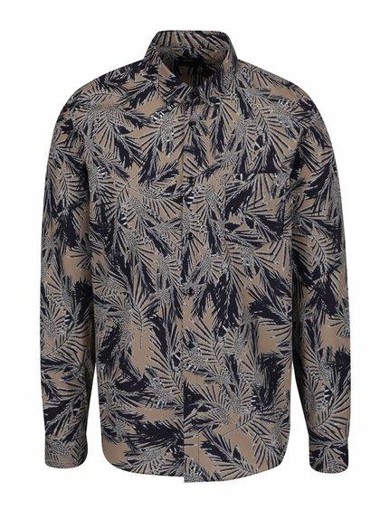 Modro-hnědá vzorovaná košile Burton Menswear London