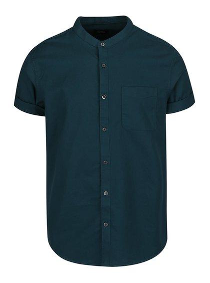 Zelená košile bez límečku Burton Menswear London