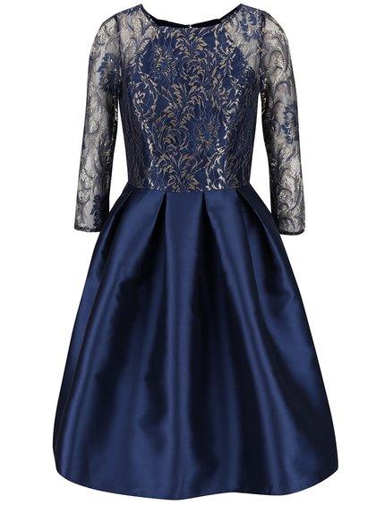 Tmavě modré šaty s krajkovým topem a lesklou sukní Chi Chi London Talia