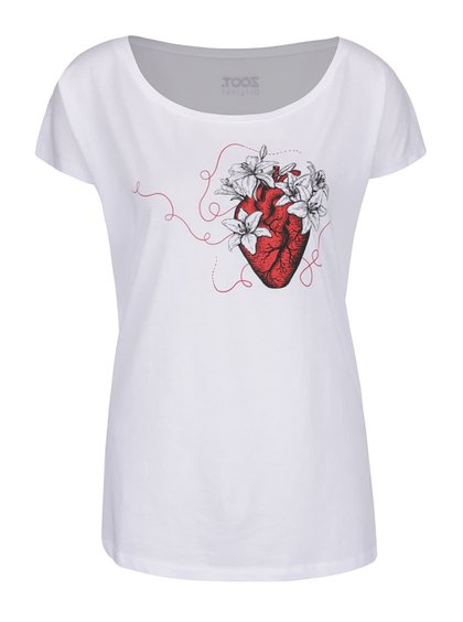 Tricou alb de damă din bumbac organic ZOOT Original Let it bloom