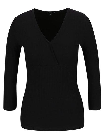 Černé žebrované tričko s překládaným výstřihem TALLY WEiJL
