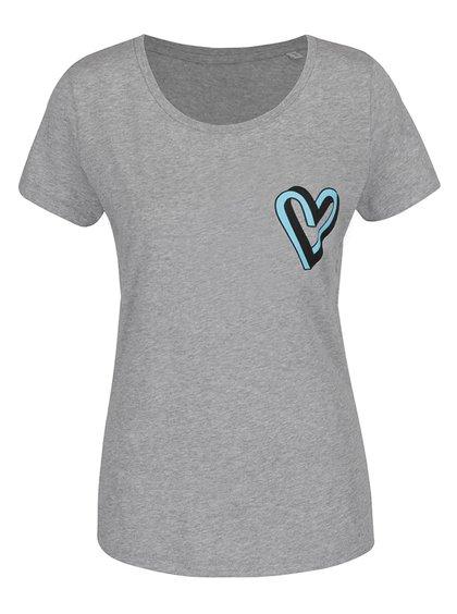 Tricou gri de damă din bumbac organic ZOOT Original cu print