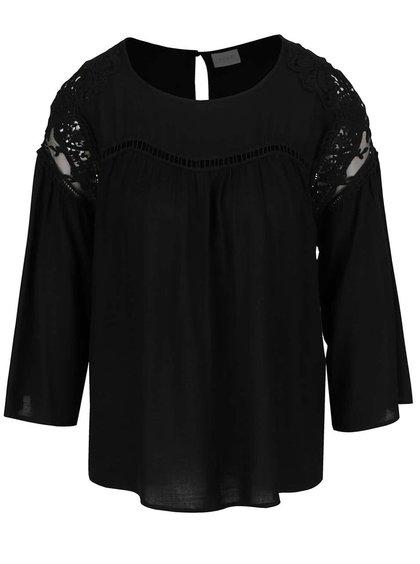 Černé tričko s 3/4 zvonovými rukávy VILA Amiran