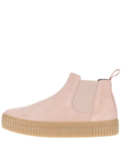 Světle růžové semišové chelsea boty na platformě OJJU Serraje