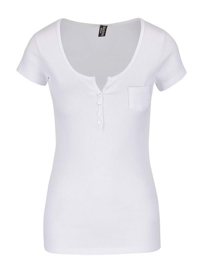 Bílé žebrované tričko s knoflíky Madonna
