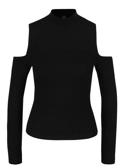 Černé tričko s průstřihy na ramenou Madonna Amaya