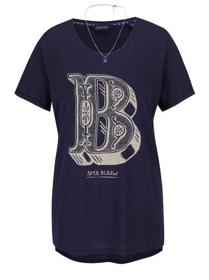 Tmavě modré tričko s potiskem Maison Scotch