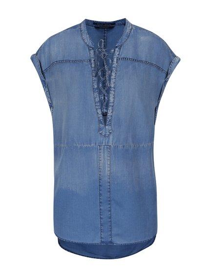 Bluză albastră Maison Scotch cu aspect denim prespălat