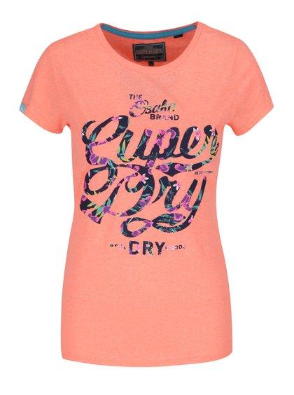 Oranžové dámské žíhané tričko s potiskem Superdry