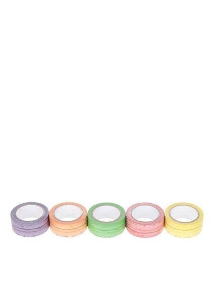 Sada pěti barevných lepících pásek s potiskem makronek Mustard