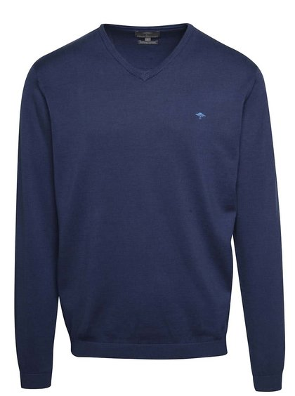 Pulover albastru Fynch-Hatton din bumbac cu decolteu en-coeur