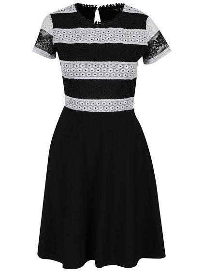 Bílo-černé šaty s krajkovým pruhovaným topem Dorothy Perkins