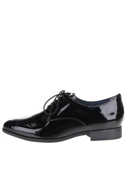 Pantofi negri Tamaris cu aspect lucios și model
