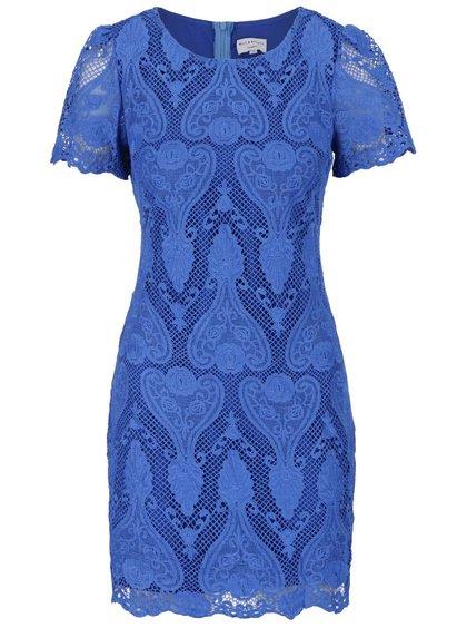 Modré krajkové šaty Wolf & Whistle